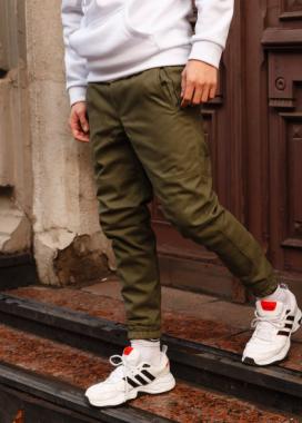 Изображение Зимние штаны карго на флисе мужские хаки Грут