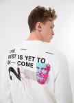 Изображение Кофта мужская с текстом на спине и груди белая MFStore