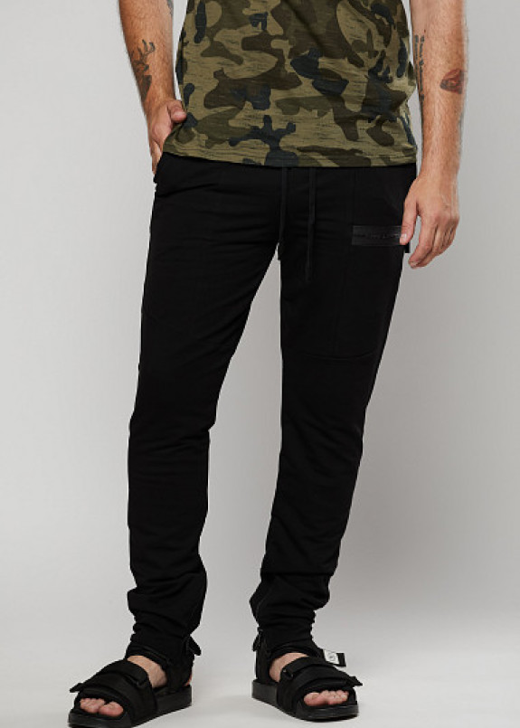 Изображение Мужские черные спортивные штаны на манжетах ThePARA