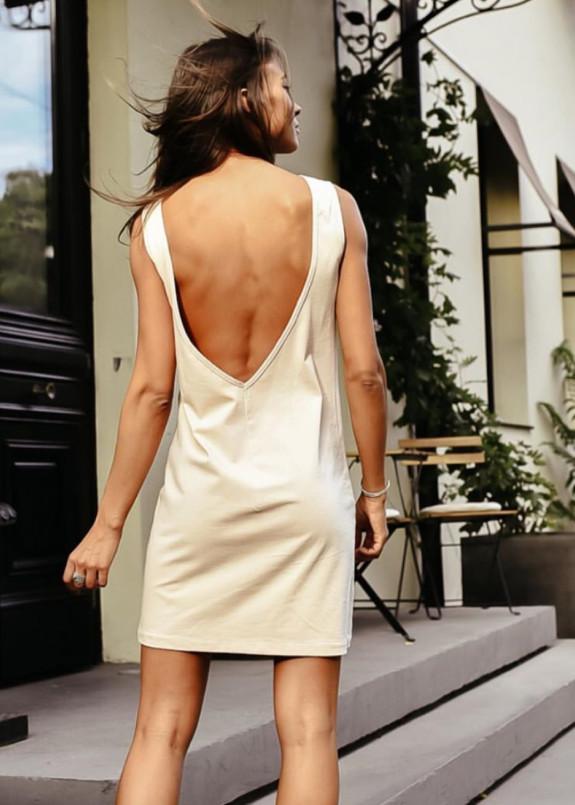 Изображение Платье бежевое короткое с открытой спиной Simplu