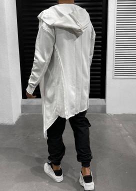 Изображение Асимметричная дизайнерская мантия с крестом на спине белая MFStore