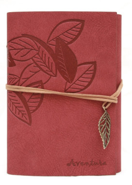 Изображение Блокнот розовый с тиснением Листья Aventura