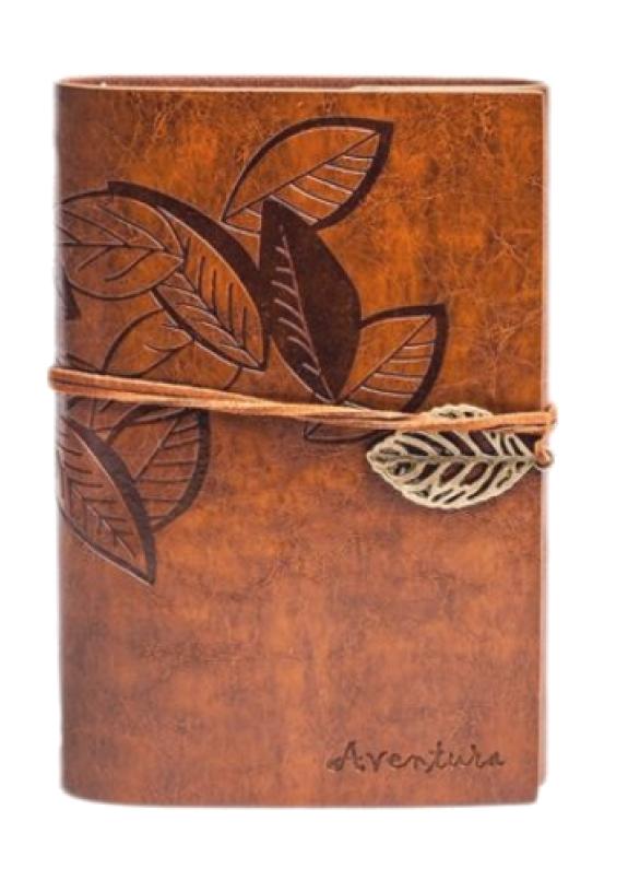 Изображение Блокнот светло-коричневый с тиснением Листья Aventura