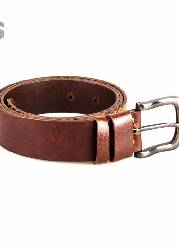 Изображение Ремень кожаный коричневый с резьбой Gonzo