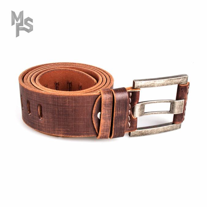 Изображение Ремень кожаный коричневый с перфорацией Gonzo