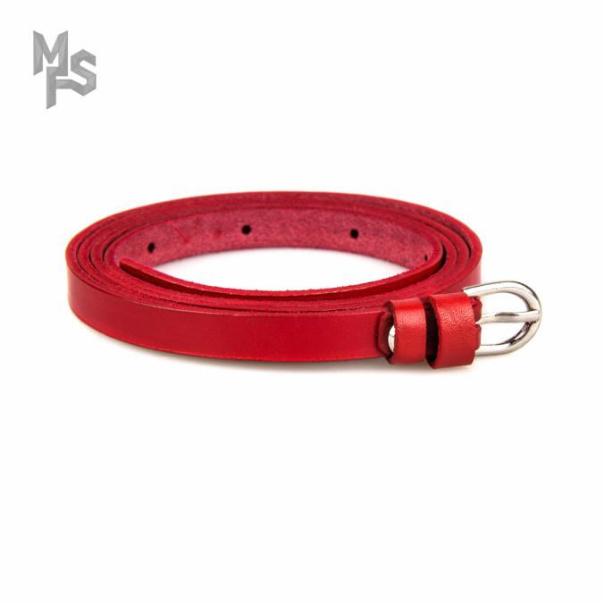 Изображение Ремень красный кожаный с пряжкой Gonzo