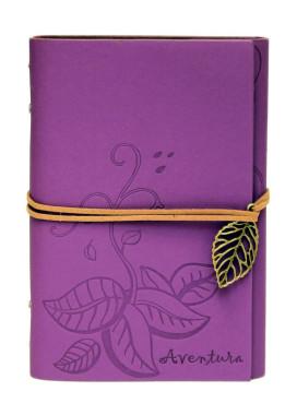 Изображение Блокнот фиолетовый с тиснением Листья Aventura