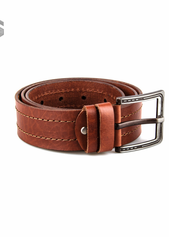 Изображение Ремень кожаный коричневый со строчкой Gonzo