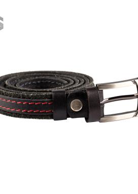 Изображение Ремень кожаный черный с красной строчкой Gonzo