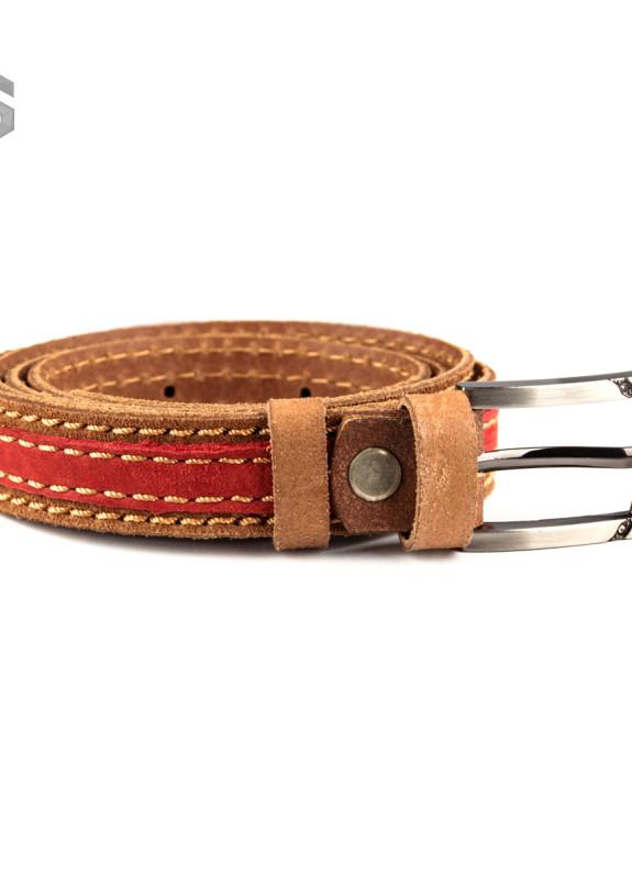 Изображение Ремень коричнево-красный двухслойный Gonzo