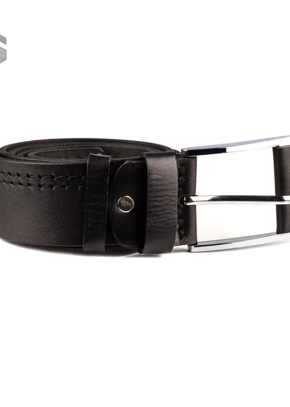 Изображение Ремень черный кожаный с двойной строчкой Gonzo