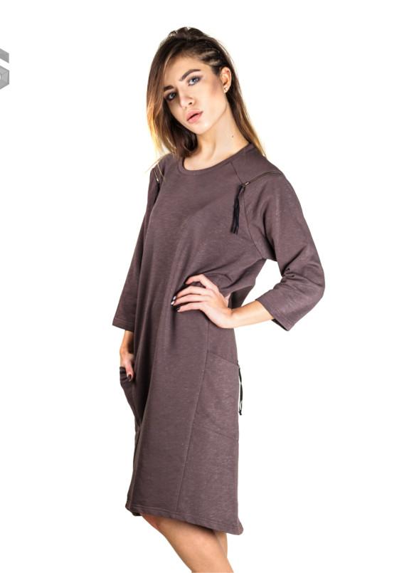 Изображение Платье коричневое с молниями на плечах и карманах Lut