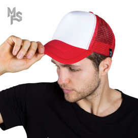 Изображение Кепка сетка бело-красная MFS
