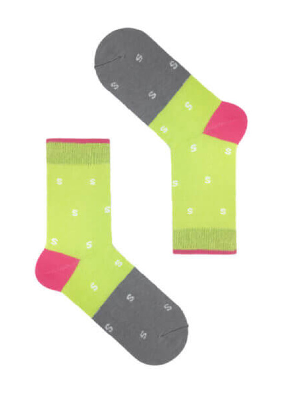 Изображение Носки зеленые с серым SSS GREY-LIME GREEN SOX