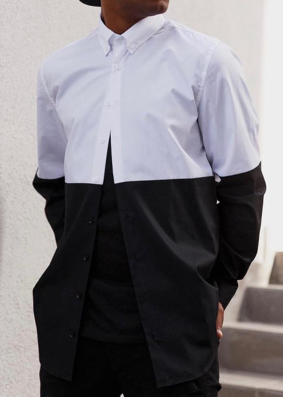Изображение Рубашка двухцветная черная с белым Black Limit