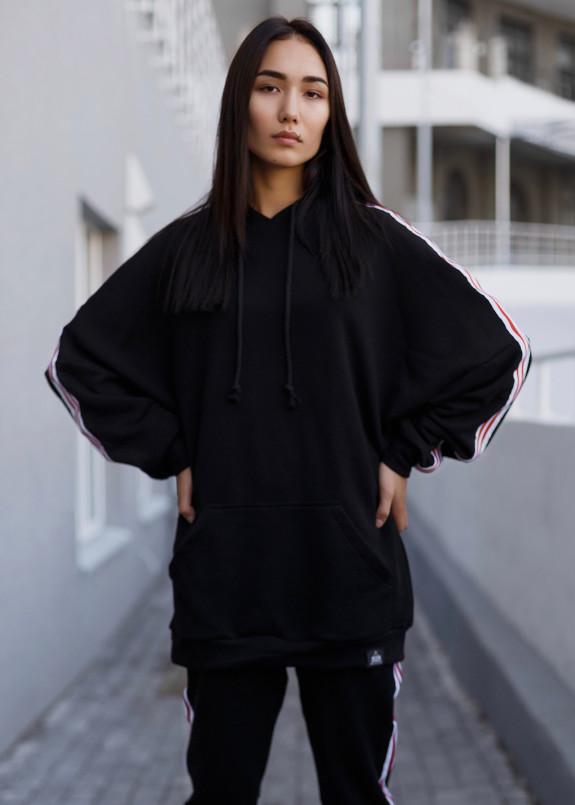 Изображение Костюм женский с лампасами черный Black Limit