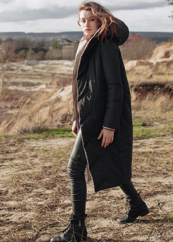 Изображение Пуховик женский двусторонний бежевый с черным DOUBLE Marani
