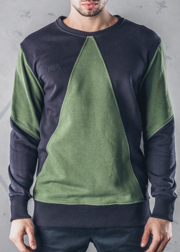 Изображение Свитшот с зеленым треугольником черный MFS BRAND