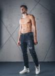 Изображение Джинсы мужские с декоративными дырками черные MFStore
