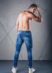 Изображение Джинсы на пуговицах с дырками и молниями голубые MFStore