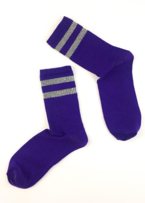 Изображение Носки длинные с люрексовыми полосками фиолетовые SOX