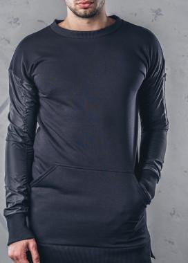 Изображение Кофта-бомбер с накладным карманом черная MFS BRAND