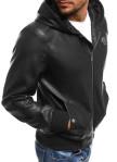 Изображение Куртка из эко-кожи с капюшоном черная MFStore