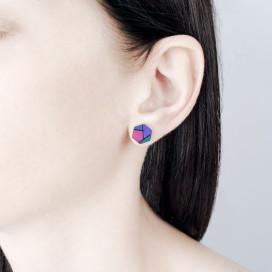 Изображение Серьги шестиугольники фиолетовые с розовым Nebula7