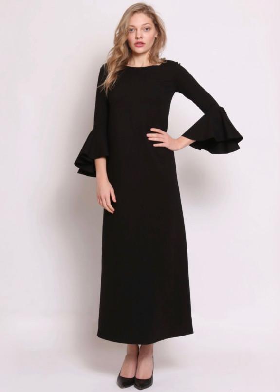 Изображение Платье макси с воланами черное Roussin