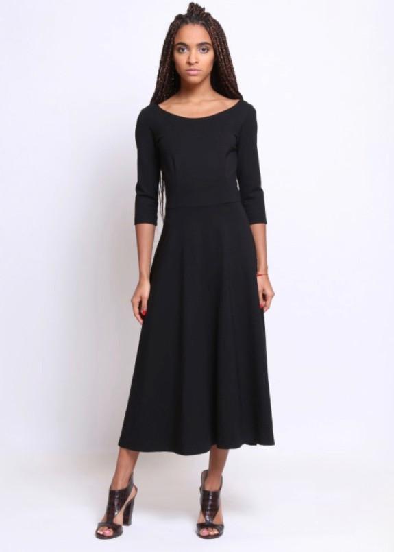 Изображение Платье с юбкой полуклеш черное Roussin