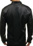 Изображение Куртка кожаная с двумя карманами на груди черная MFStore