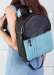 Изображение Рюкзак женский с голубым карманом черный Kogut