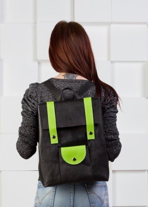 Изображение Портфель женский черный с салатовым Kogut