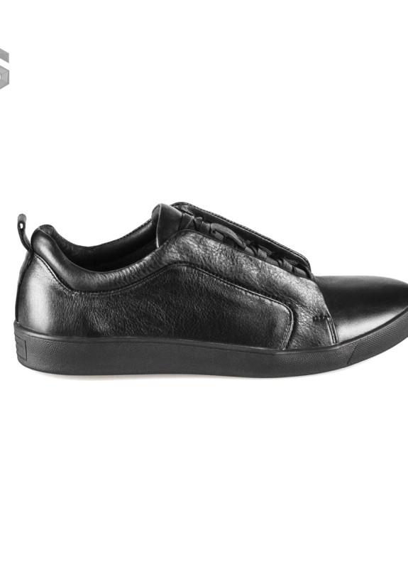 Изображение Слипоны мужские кожаные на шнуровке черные Shoes