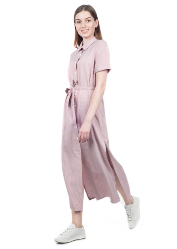 Изображение Платье-рубашка с поясом розовое Grishko Design