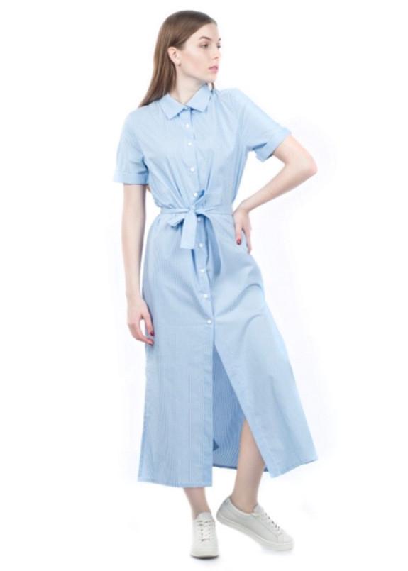 Изображение Платье-рубашка с поясом голубое Grishko Design
