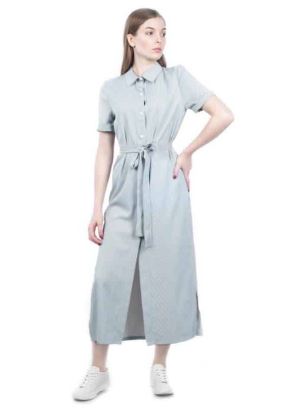 Изображение Платье-рубашка с поясом серое Grishko Design