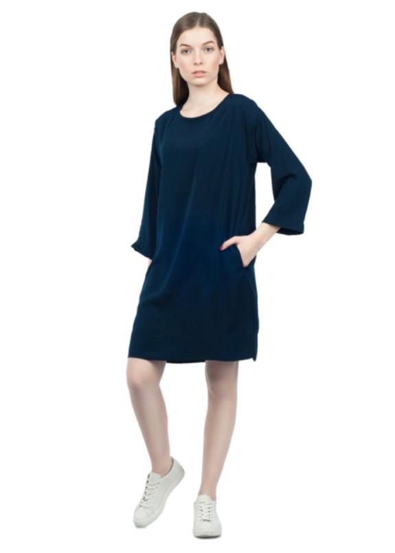 Изображение Платье с поясом темно-синее Grishko Design