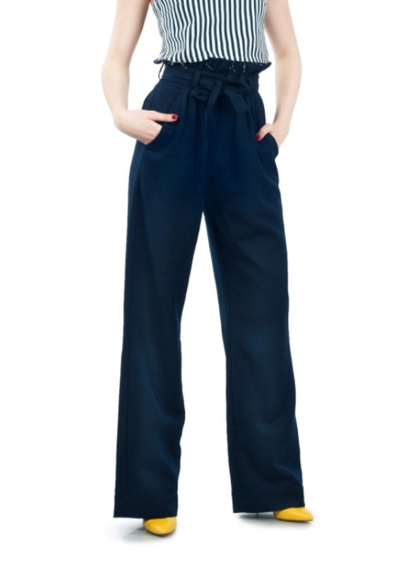 Изображение Брюки женские с высокой талией темно-синие Grishko Design