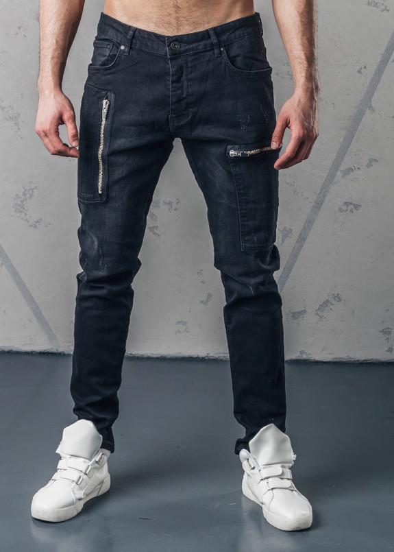 Изображение Джинсы мужские с молниями на карманах черные MFStore