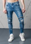 Изображение Джинсы с двумя молниями на коленях синие MFStore