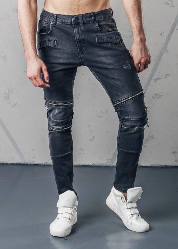 Изображение Джинсы с двумя молниями на коленях черные MFStore