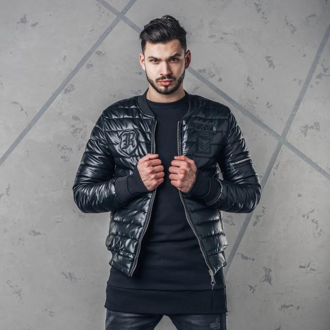Изображение Бомбер мужской со звездами и молнией на рукаве черный MFStore