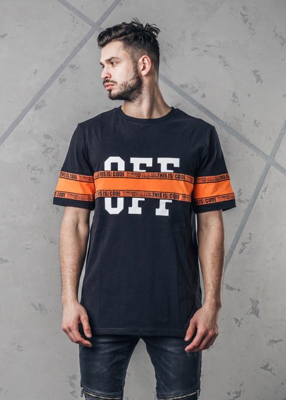 Изображение Футболка со строчкой черная с оранжевым Crush Code MFStore