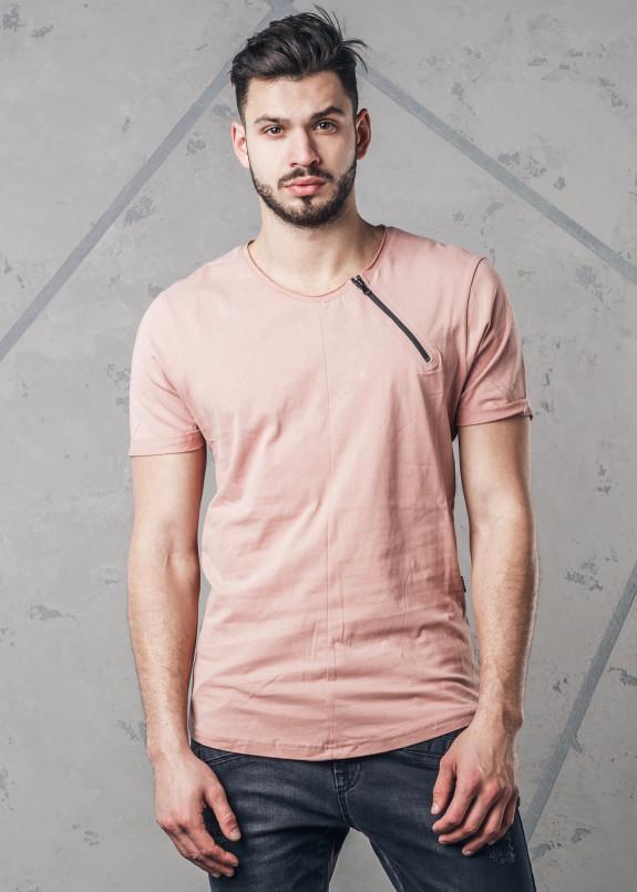 Изображение Футболка с разрезом на молнии розовая MFStore