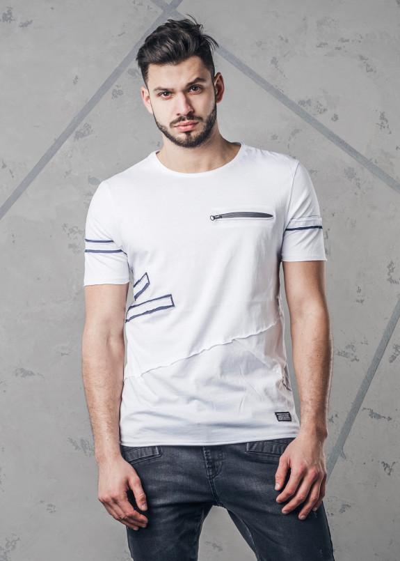 Изображение Футболка с карманом на молнии на груди белая MFStore
