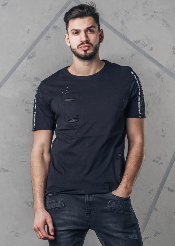 Изображение Футболка мужская с декоративными разрезами черная MFStore