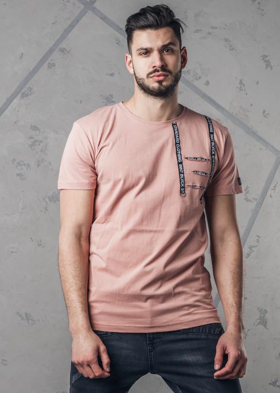Изображение Футболка мужская с разрезами на груди розовая MFStore