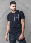 Изображение Футболка мужская с разрезами на груди черная MFStore