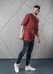 Изображение Футболка мужская с асимметричными швами бордовая MFStore